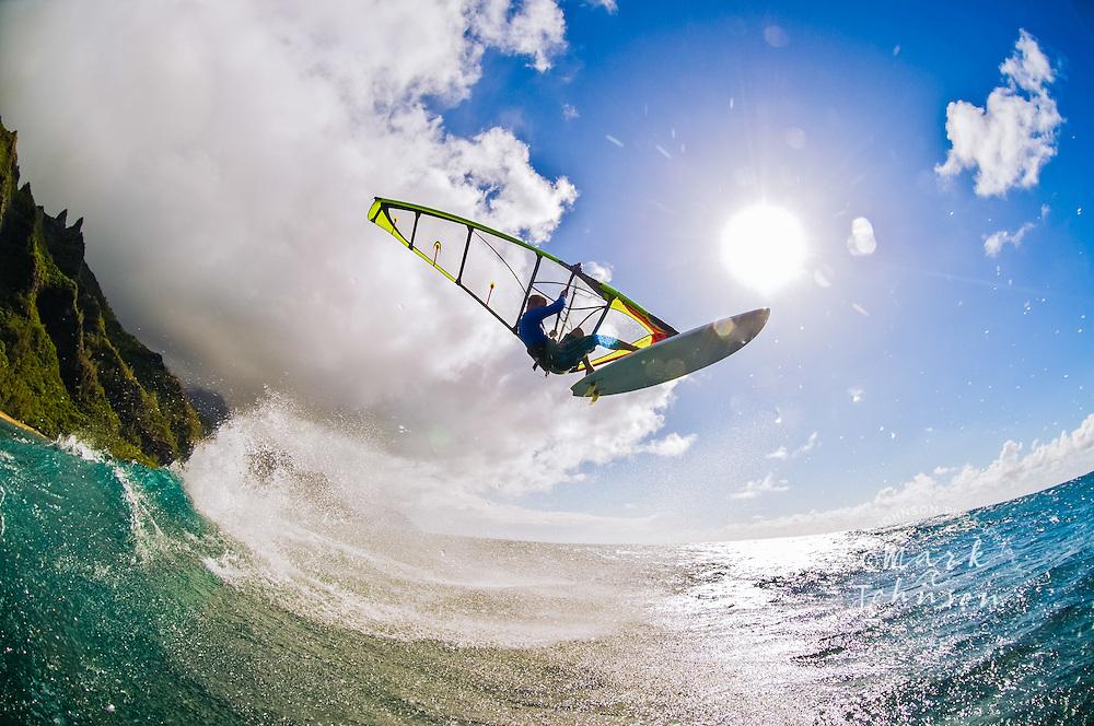 Kauai, Hawaii, USA --- Windsurfer Mid-air