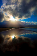 Reflctions of clouds on Fermoyle Beach, on the Dingle Peninsula, Ireland,