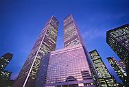 Twin Towers, World Trade Center, and Vista International Hotel, 3 World Trade Center, Manahattan, New York City, New York, Dusk, New York City, New York, Twilight