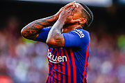Malcom Filipe from Brasil celebrating his first goal during the Joan Gamper trophy game between FC Barcelona and CA Boca Juniors in Camp Nou Stadium at Barcelona, on 15 of August of 2018, Spain, Photo Xavier Bonilla / SpainProSportsImages / DPPI / ProSportsImages / DPPI