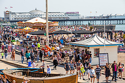 © Licensed to London News Pictures. 20/04/2019. Brighton, UK. Thousands of visitors take to the beach in Brighton and Hove as sunny and hot weather is hitting the seaside resorts during the Easter Bank Holiday. Temperatures reaching 24C are the highest of the year so far. Photo credit: Hugo Michiels/LNP