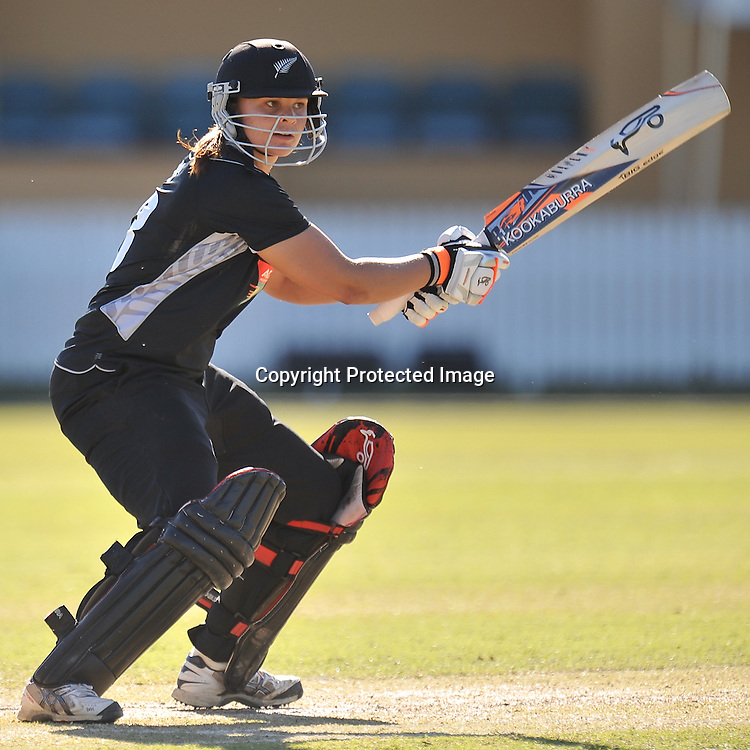 Suzie Bates follows through after playing into the off side for New Zealand ~ Game 7 (ODI) of the Rose Bowl Trophy Cricket played between Australia and New Zealand at Alan Border Field in Brisbane (Australia) ~ Thursday 16th June 2011 ~ Photo : Steven Hight (AURA Images) / Photosport