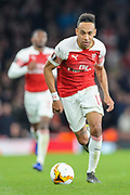 Arsenal forward Pierre-Emerick Aubameyang (14) during the Europa League semi-final leg 1 of 2 match between Arsenal and Valencia CF at the Emirates Stadium, London, England on 2 May 2019.