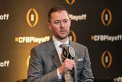 Oklahoma head coach Lincoln Riley during a news conference ahead for the College Football playoffs, Thursday, Dec. 12, 2019, in Atlanta. Oklahoma will face LSU in the Chick-fil-A Peach Bowl. (Paul Abell via Abell Images for the Chick-fil-A Peach Bowl)