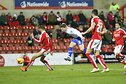 Walsall's Tom Bradshaw equalises for his team, 1-1 during the Sky Bet League 1 match between Swindon Town and Walsall at the County Ground, Swindon, England on 24 November 2015. Photo by Shane Healey.