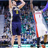 25 January 2016: Utah Jazz forward Joe Ingles (2) takes a jump shot over Detroit Pistons guard Reggie Jackson (1) during the Detroit Pistons 95-92 victory over the Utah Jazz, at the Vivint Smart Home Arena, Salt Lake City, Utah, USA.