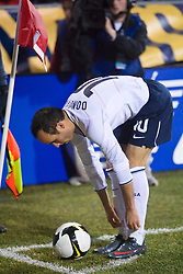 United States midfielder Landon Donovan (10) prepares for a corner kick against Mexico.  The United States men's soccer team defeated the Mexican national team 2-0 in CONCACAF final group qualifying for the 2010 World Cup at Columbus Crew Stadium in Columbus, Ohio on February 11, 2009.
