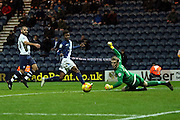 Preston North End Goalkeeper Jordan Pickford saves during the Sky Bet Championship match between Preston North End and Birmingham City at Deepdale, Preston, England on 15 December 2015. Photo by Pete Burns.