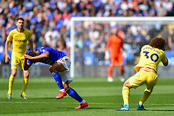 May 12, 2019 - Leicester, England, United Kingdom - Leicester City midfielder Youri Tielemans (21) and David Luiz (30) of Chelsea clash heads during the Premier League match between Leicester City and Chelsea at the King Power Stadium, Leicester on Sunday 12th May 2019. (Credit Image: © Mi News/NurPhoto via ZUMA Press)