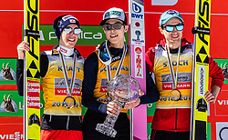 24.03.2019, Planica, Ratece, SLO, FIS Weltcup Ski Sprung, Finale, Weltcup Siegerehrung, im Bild Podium Gesamtweltcup 2. Platz Stefan Kraft (AUT), Gesamtweltcupsieger Ryoyu Kobayashi (JPN), 3. Platz Kamil Stoch (POL) // f.l. 2nd placed Stefan Kraft of Austria Overall Worldcup Winner Ryoyu Kobayashi of Japan 3rd placed Kamil Stoch of Poland during the awards ceremony of the FIS Ski Jumping and Ski Flying World Cup 2019. Planica in Ratece, Slovenia on 2019/03/24. EXPA Pictures © 2019, PhotoCredit: EXPA/ JFK