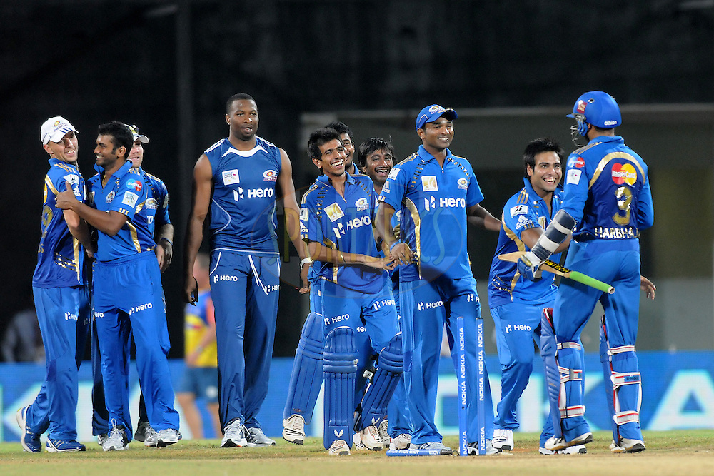 Team Mumbai Indians celebrate after winning the match 3 of the NOKIA Champions League T20 ( CLT20 )between the Chennai Superkings and the Mumbai Indians held at the M. A. Chidambaram Stadium in Chennai , Tamil Nadu, India on the 24th September 2011..Photo by Pal Pillai/BCCI/SPORTZPICS