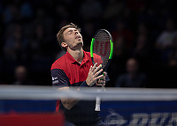 Tennis - 2019 Nitto ATP Finals at The O2 - Day Eight<br /> <br /> Doubles Final : Pierre-Hugues Herbert (FRA) & Nicolas Mahut (FRA) Vs. Raven Klaasen (RSA) & Michael Venus (NZL)<br /> <br /> Nicolas Mahut (FRA) reacts after his shot was ruled out <br /> <br /> COLORSPORT/DANIEL BEARHAM