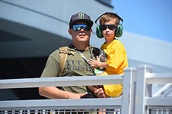 September 14, 2018 - Las Vegas, NV, U.S. - LAS VEGAS, NV - SEPTEMBER 14: A young fan and his dad in the Neon Garage during practice for the South Point 400 Monster Energy NASCAR Cup Series Playoff Race on September 14, 2018 at Las Vegas Motor Speedway in Las Vegas, NV. (Photo by Chris Williams/Icon Sportswire) during practice for the DC Solar 300 NASCAR Xfinity Series Playoff Race on September 14, 2018, at Las Vegas Motor Speedway in Las Vegas, NV. (Photo by David Griffin/Icon Sportswire) (Credit Image: © David Griffin/Icon SMI via ZUMA Press)