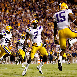 Sep 25, 2010; Baton Rouge, LA, USA; LSU Tigers players Patrick Peterson (7)and Brandon Taylor (15) celebrates after a blocked field goal during the first half at Tiger Stadium.  Mandatory Credit: Derick E. Hingle