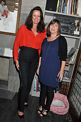 Left to right, TRICIA RONANE and JANE WILSON at a dinner hosted by Bella Freud for German artist Marcel Odenbach at her home 275 Kensal Road, London W10 on 6th June 2011.