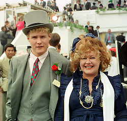 JONATHAN HARMSWORTH (4th Viscount Rothermere) and his mother VISCOUNTESS (Bubbles) ROTHERMERE at The Derby at Epsom, Surrey on June 5th 1985.