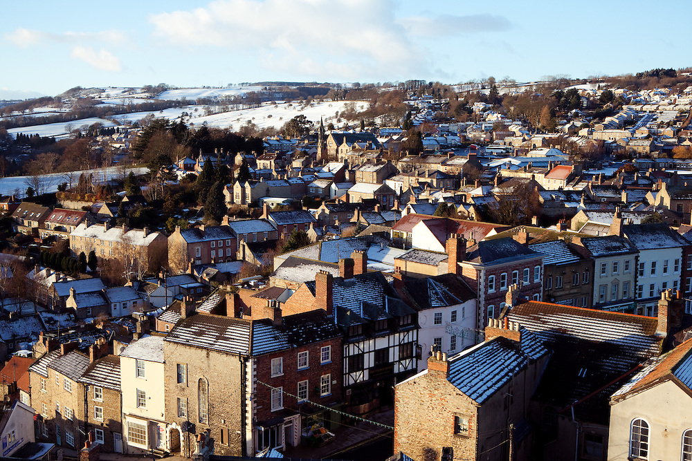 A view across the town of Richmond and the surrounding countryside, Yorkshire.