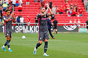 Leeds United defender Liam Cooper (6) applauds the fans after the victory in the EFL Sky Bet Championship match between Bristol City and Leeds United at Ashton Gate, Bristol, England on 4 August 2019.