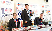 British National Party election manifesto launch for the May 3 London Assembly elections in East London, Great Britain <br /> 9th April 2012 <br /> <br /> <br /> Carlos Cortiglia <br /> mayor of London candidate for the BNP <br /> <br /> Nick Griffin - chairman / leader of the BNP <br /> <br /> <br /> Stephen Squire <br /> candidate and Regional Organiser for the whole of London<br /> <br /> <br /> Photograph by Elliott Franks