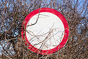 Red circle 30 mph sign with writing bleached and invisible, UK