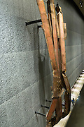 Impact steel from North Tower floors 96-99 exhibit at 9/11 Memorial Museum, The World Trade Center, New York USA
