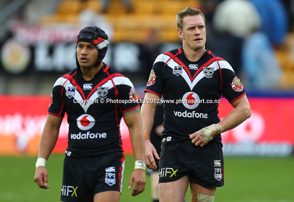 Michael Luck (R) and Pita Godinet (L) of the Warriorsv looks dejected after the loss during the NRL game, Vodafone Warriors v Penrith Panthers, Mt Smart Stadium, Auckland, Sunday 19 August  2012. Photo: Simon Watts /photosport.co.nz