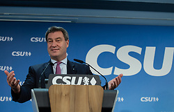 October 1, 2018 - Munich, Bavaria, Germany - The Bavarian Ministerpraesident and lead candidate of the CSU Markus Soeder talking to the press, in Munich, Germany, on October 1, 2018. After a board meeting of the Christian Social Union (CSU) the secretary general of the CSU Markus Blume and the Bavarian Ministerpraesident (Governor) and lead candidate of the CSU Markus Soeder held a press conference. It was the last board meeting before the Bavarian State Elections taking place on October 14. (Credit Image: © Alexander Pohl/NurPhoto/ZUMA Press)
