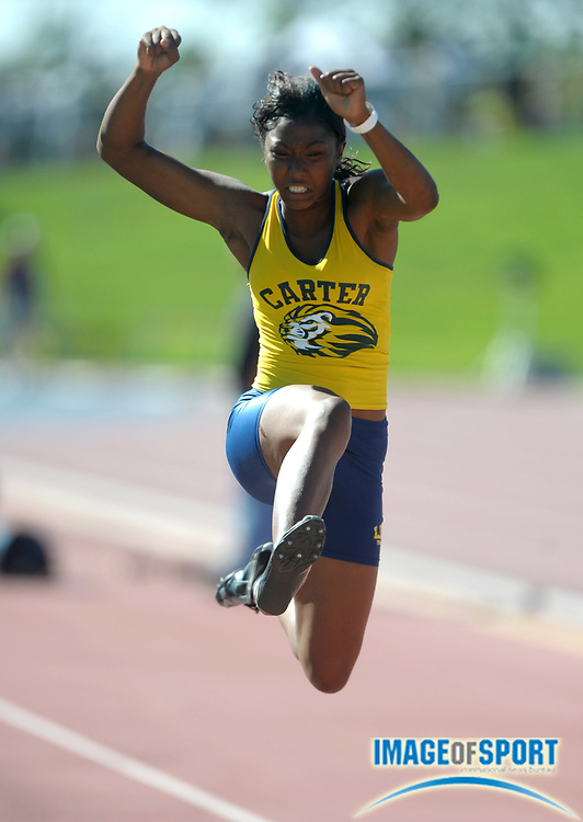 Jun 4, 2010; Clovis, CA, USA; Shanice Stewart of Carter jumped a wind-aided 19-1 1/4 in the girls' long jump preliminaries to advance to the final in the 92nd CIF State Track & Field Championships at Memorial Stadium.