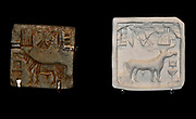 Square seal, Harappa, Sind, about 2000 BC.  Glazed steatite.  Indus seals were commonly used to mark bundles of trade goods.  This well-known type shows a one-horned bovine animal before a ritual offering stand, with characters in the undeciphered Indus script.