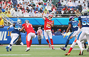 Jan 27, 2019; Orlando, FL, USA; AFC quarterback Patrick Mahomes of the Kansas City Chiefs (15) throws a pass in the NFL Pro Bowl football game at Camping World Stadium.  The AFC beat the NFC 26-7. (Steve Jacobson/Image of Sport)