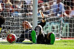 Brad Guzan of Aston Villa wraps himself around the goalpost - Mandatory byline: Jason Brown/JMP - 07966386802 - 22/08/2015 - FOOTBALL - London - Selhurst Park - Crystal Palace v Aston Villa - Barclays Premier League