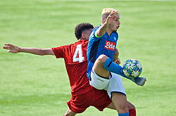 NAPLES, ITALY - Tuesday, September 17, 2019: SSC Napoli's captain Gianluca Gaetano (R) and Liverpool's's Ki-Jana Hoever during the UEFA Youth League Group E match between SSC Napoli and Liverpool FC at Stadio Comunale di Frattamaggiore. (Pic by David Rawcliffe/Propaganda)