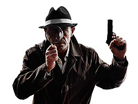 one detective man criminal investigations investigating crime in silhouette on white background