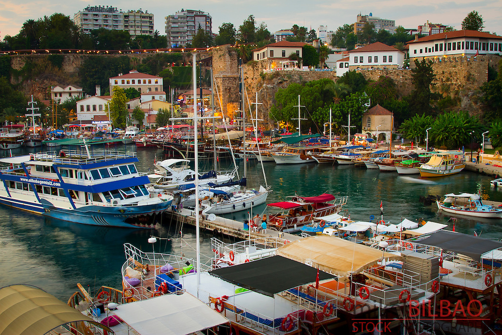 Harbour and boats. Kaleici. Antalya city.  Antalya province. Mediterranean coast. Turkey.