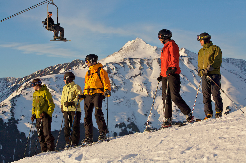 Local ski enthusiasts enjoy the warm view on a February afternoon at the Alyeska ski resort.
