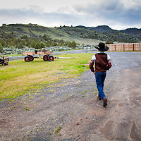 A home grown little cowboy sets out to see what he can find in French Glen, Oregon.
