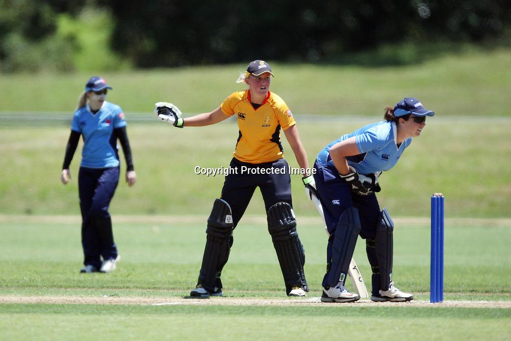 Liz Perry. Women's One Day Cricket, Action Cricket Cup, Auckland Hearts v Wellington Blaze, Colin Maiden Park, Ground 2, Auckland, Saturday 15 January 2011, . Photo: Ella Brockelsby/photosport.co.nz