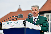 Nathaniel Crosby, USA Team Captain introduces the USA team during the Walker Cup Opening Ceremony, Friday at the Royal Liverpool Golf Club, Friday, Sept 6, 2019, in Hoylake, United Kingdom. (Steve Flynn/Image of Sport)