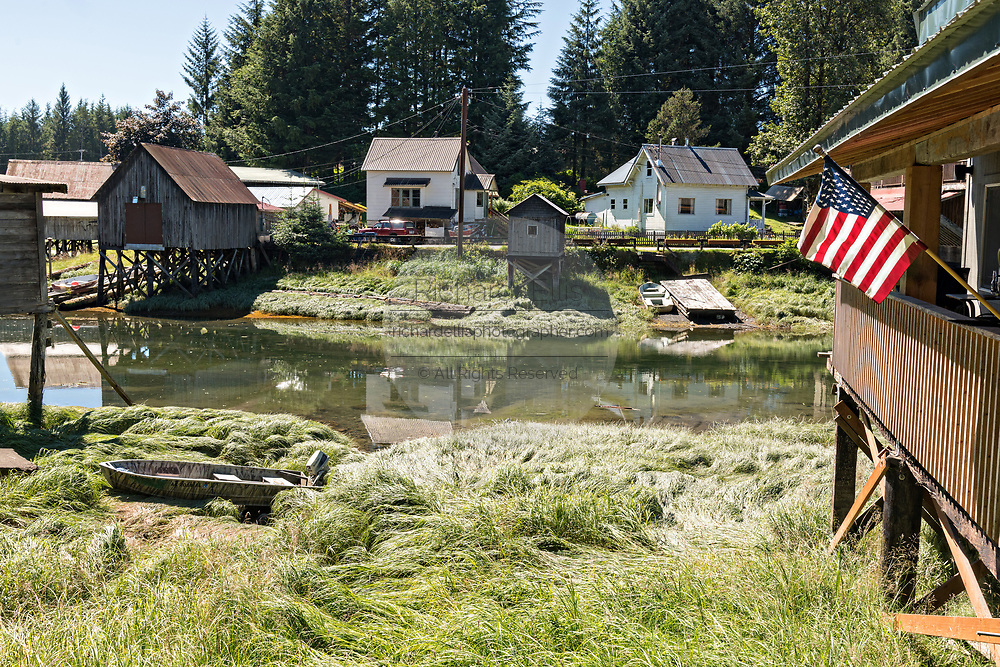 Old wooden stilt homes on Hammer Slough in Petersburg, Mitkof Island, Alaska. Petersburg settled by Norwegian immigrant Peter Buschmann is known as Little Norway due to the high percentage of people of Scandinavian origin.