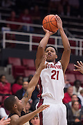 November 14, 2014; Stanford, CA, USA; Stanford Cardinal guard/forward Anthony Brown (21) shoots the basketball during the first half against the Wofford Terriers at Maples Pavilion.