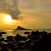 St Michael's Mount as the sun goes down.