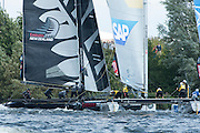 SAP crash into Emirates Team New Zealand after Alinghi snap off the port rudder. Race 5, day two of the Cardiff Extreme Sailing Series Regatta. 23/8/2014