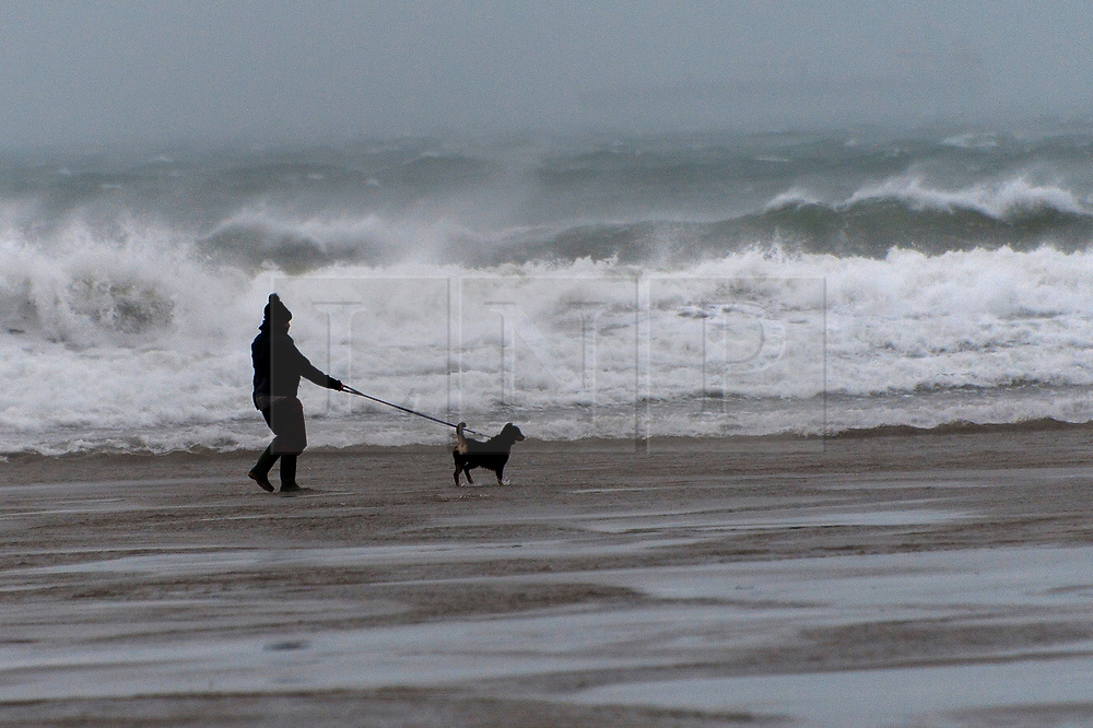 © Licensed to London News Pictures. 13/01/2020. Broad Haven, Pembrokeshire, Wales, UK. A woman braves gale force winds to walk her dog on the beach at Broad Haven in Pembrokeshire, Wales, UK. as Storm Brendan hits the South West coastline of  Wales, UK. Photo credit: Graham M. Lawrence/LNP
