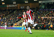 Sheffield United's Clayton Donaldson celebrates scoring the second goal during the EFL Sky Bet Championship match between Norwich City and Sheffield Utd at Carrow Road, Norwich, England on 20 January 2018. Photo by John Marsh.