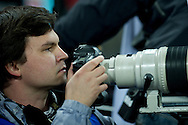 Radoslaw Jozwiak photographer during the 2014 World Cup Qualifying Group H football match between England and Poland at Wembley Stadium in London on October 15, 2013.<br /> <br /> Great Britain, London, October 15, 2013<br /> <br /> Picture also available in RAW (NEF) or TIFF format on special request.<br /> <br /> For editorial use only. Any commercial or promotional use requires permission.<br /> <br /> Mandatory credit:<br /> Photo by © Adam Nurkiewicz / Mediasport