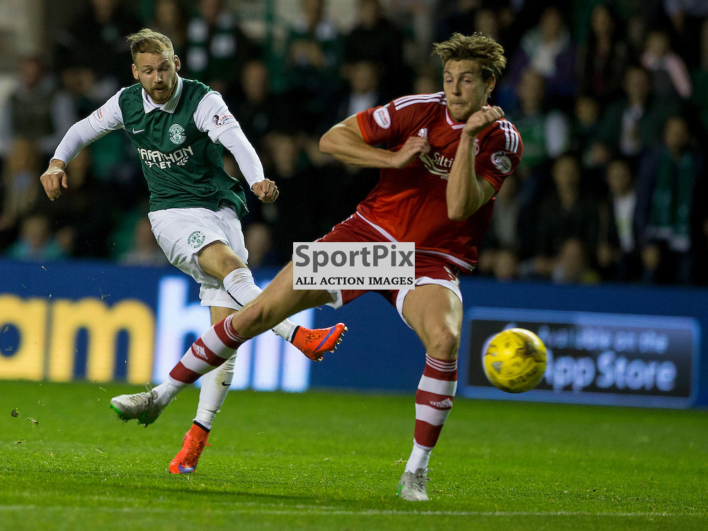 Hibernian FC v Aberdeen FC<br /> <br /> Martin Boyle (Hibernian) gets shot away during the Scottish League Cup clash between Hibernian and Aberdeen FC at Easter Road Stadium on 23 September 2015.<br /> <br /> <br /> Picture Alan Rennie.