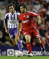 Photo: Paul Thomas.<br /> Liverpool v Toulouse. UEFA Champions League Qualifying. 28/08/2007.<br /> <br /> Pantxi Sirieix (L) chases Javier Mascherano of Liverpool.