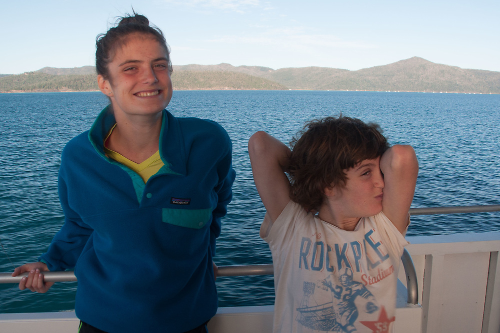 Eliza and Max Coming Back from the Great Barrier Reef, Whitsunday islands,  Queensland, Australia