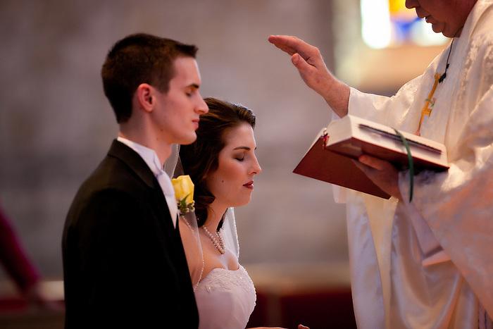 Feb 11, 2012; San Antonio, TX, USA; Christina & Jonathan wedding photos at the Holy Trinity Catholic Church.  Images by San Antonio Wedding Photographer Soobum Im.