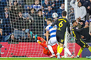 Goal Queens Park Rangers defender Grant Hall (4) scores a goal 1-1 during the EFL Sky Bet Championship match between Queens Park Rangers and Brentford at the Kiyan Prince Foundation Stadium, London, England on 28 October 2019.